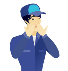Young shoked asian mechanic covering his mouth vector
