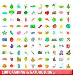 100 camping and nature icons set cartoon style vector image vector image