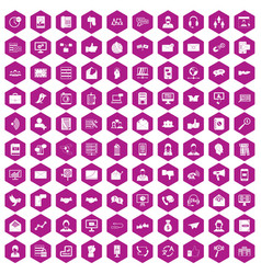 100 interaction icons hexagon violet vector