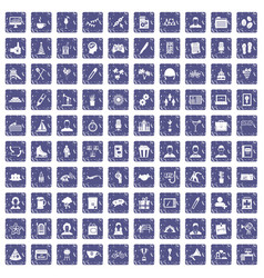 100 team building icons set grunge sapphire vector image vector image