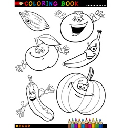 fruits and vegetables for coloring vector image