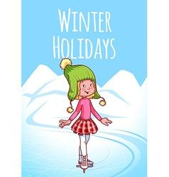 Cheerful blonde girl posing on skates vector
