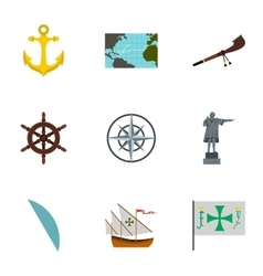 Discovery of america icons set flat style vector