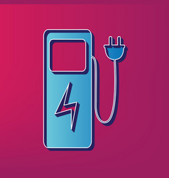 electric car charging station sign  blue vector image