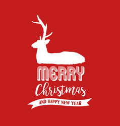 christmas text quote calligraphy deer vector image