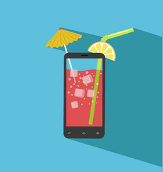 Smartphone filled with fresh juice vector