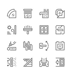 set line icons of window vector image