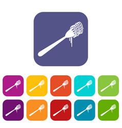 Spaghetti on a fork icons set vector