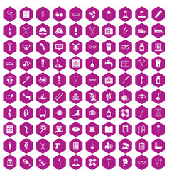 100 disabled healthcare icons hexagon violet vector
