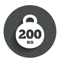 Weight sign icon 200 kilogram sport symbol vector