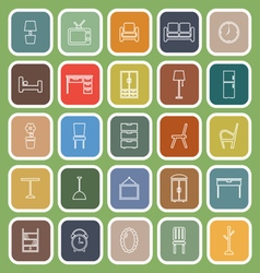 Furniture line flat icons on green background vector