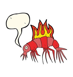 Cartoon hot shrimp with speech bubble vector