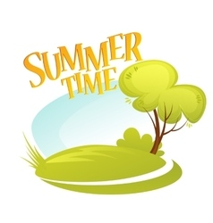 Cartoon summer landscape background summer tree vector