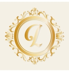 Stylish design decorated icon gold vector