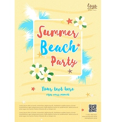 Yellow summer beach party poster template vector