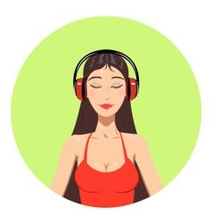 Girl in headphones vector