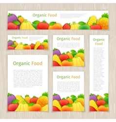 Set of organic food banners vector