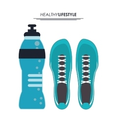 Bottle and running shoes icon fitness design vector