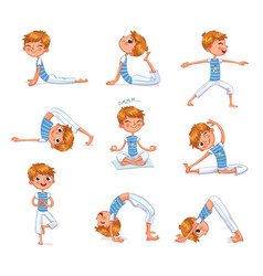 boy engaged in physical exercises yoga kid vector image