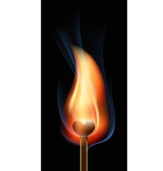 Burning match in the form of heart vector image
