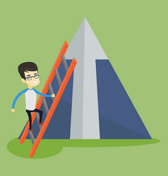 business man climbing on mountain vector image
