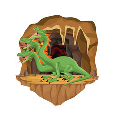 cave interior scene with hydra mythological vector image vector image