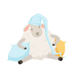 Cute sleeping sheep character wearing hat funny vector
