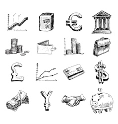 Finance icons set sketch vector image vector image