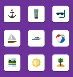 Flat icon summer set of boat sunshine reminders vector