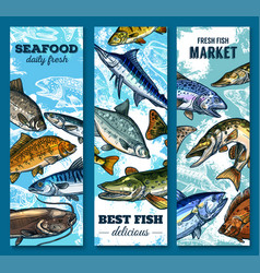 Fresh seafood and fish market sketch banner set vector