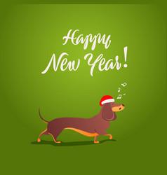 funny dog sings song xmas 2018 card vector image