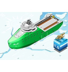 Isometric Icebreaker Ship Breaking the Ice in vector image vector image