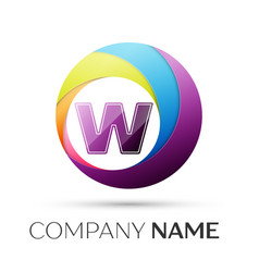 letter w logo symbol in the colorful circle on vector image