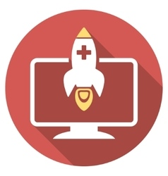 Medical startup flat round icon with long shadow vector