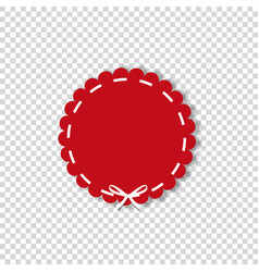 Red circle sticker or label wrapped with white vector