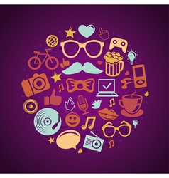 Round concept with trendy hipster icons and signs vector