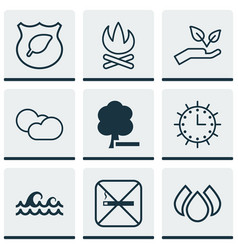 Set of 9 ecology icons includes bonfire sun vector