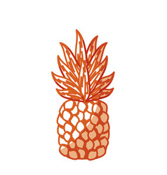 Silhouette delicious pineapple tropic fruits vector