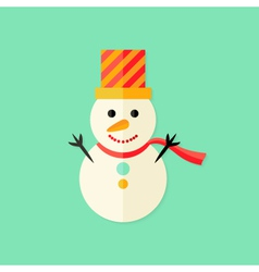 Snowman with topper christmas flat icon vector