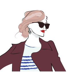 stylish hand drawn girl in sunglasses fashion vector image vector image