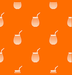 Tea cup used mate or terere in argentina pattern vector
