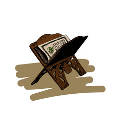 the holy book of the koran on the stand hand vector image vector image