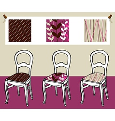 Three upholstered chairs vector image