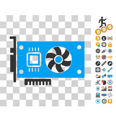 Video accelerator card icon with bonus vector
