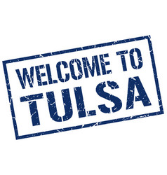 welcome to tulsa stamp vector image vector image