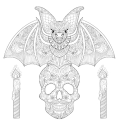 Zentangle stylized bat seating on sugar skull with vector