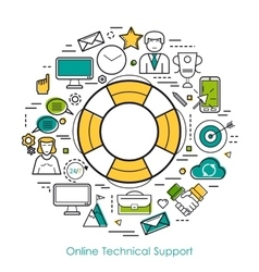 Technical support online - line concept vector