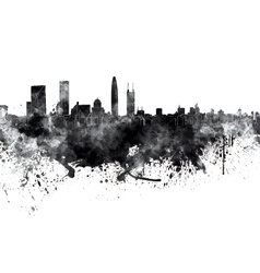 Shenzhen skyline in black watercolor on white vector