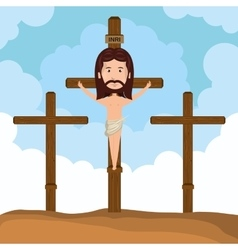 Jesus christ crucified calvary design vector