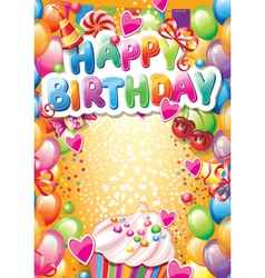 Template for Happy birthday card with place for vector image